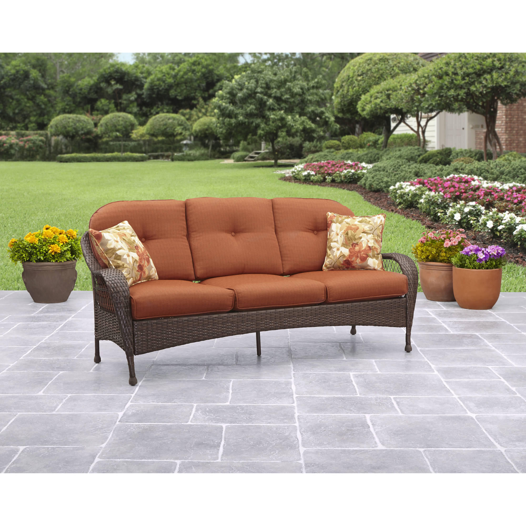 better homes and gardens azalea ridge outdoor sofa, seats 3 - walmart.com YPWGMJS