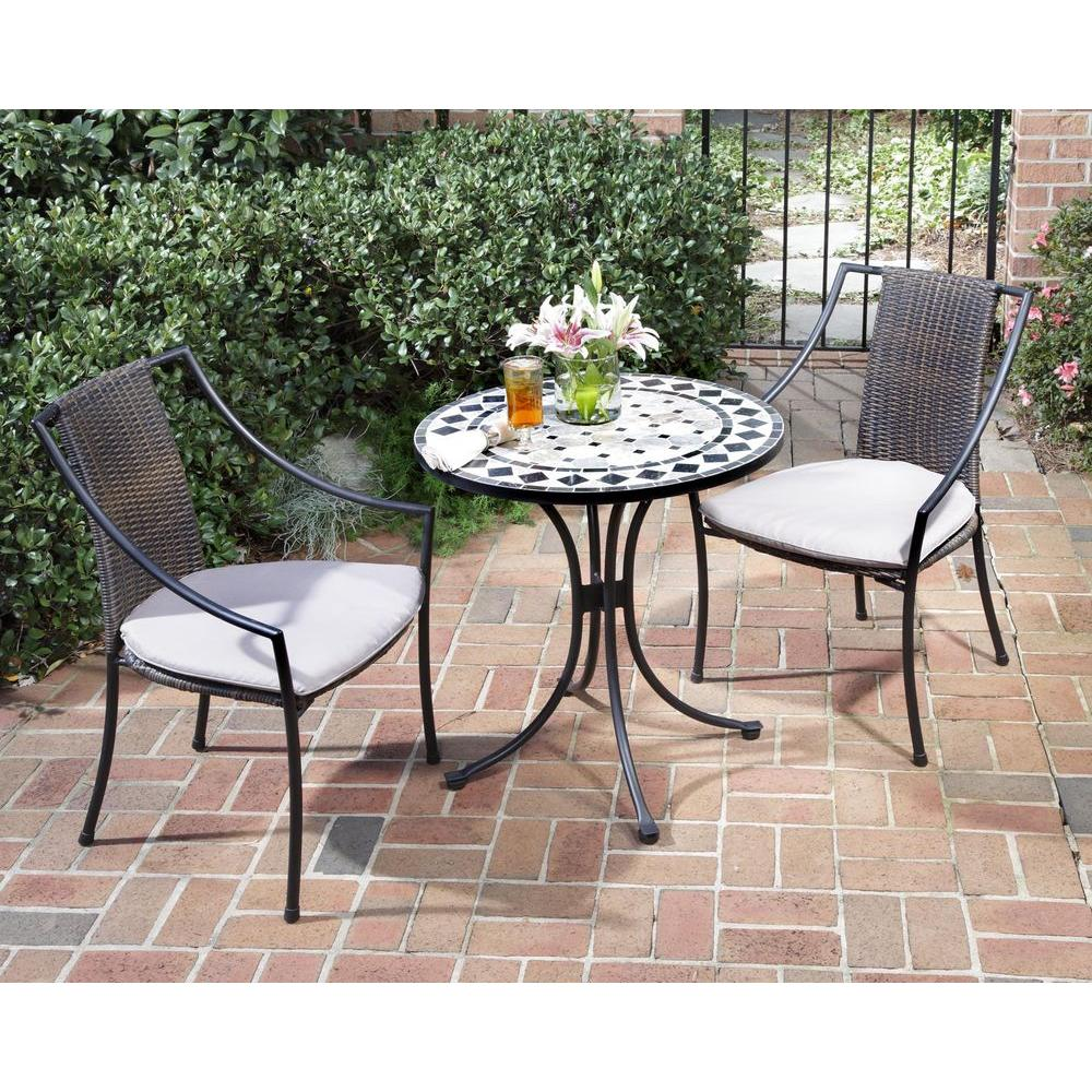 black and tan 3-piece tile top patio bistro set with taupe NYISRNZ