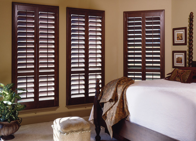 budget blinds dark wood plantation shutters ASOIEIN