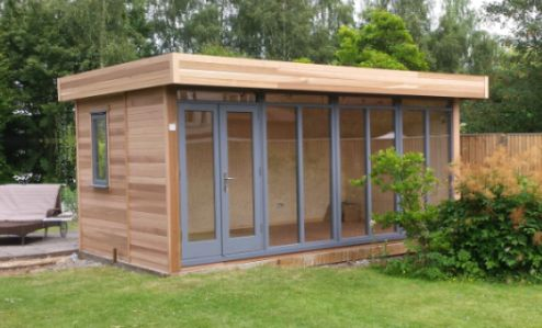 cedar clad 5m x 3.6m contemporary garden office with an anthracite grey  finish to doors GJDGLGR