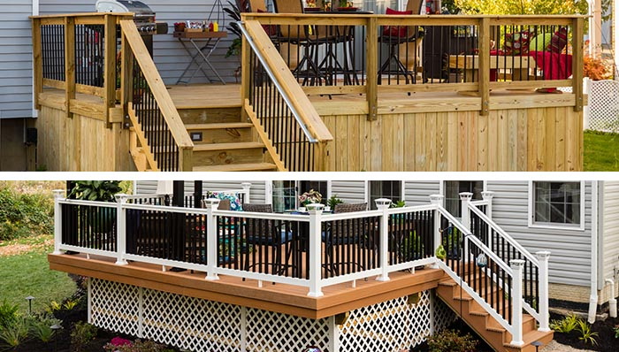 deck designs: wood deck and composite deck. SSTHZOV