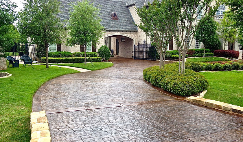 driveway ideas stained and stamped ashlar pattern driveway ATHWEJS