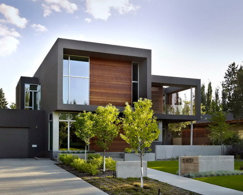 exterior design inspiration for a modern wood exterior home remodel in edmonton - houzz LUUJDTT
