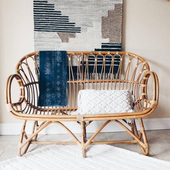 franco albini style rattan settee, rattan loveseat, rattan sofa, bamboo  settee, bamboo loveseat, rattan furniture, bohemian DSEIXRO
