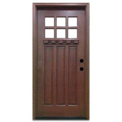 front doors craftsman 6 lite stained mahogany wood prehung front door NTHNDQK