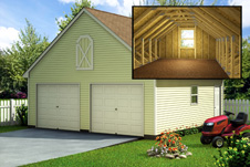 garage kits 24u0027 x 24u0027 two car vinyl garage package with 12u0027 x 7u0027 x 24u0027 overhead storage YVJIVDV