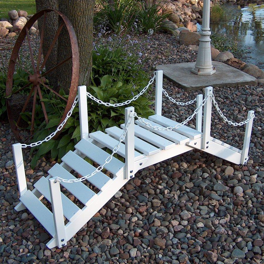 garden bridge prairie leisure design 4.33-ft satin white north american hardwood garden  bridge TVWOHBY