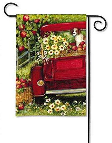 garden flags amazon.com : breezeart red truck garden flag #34089 : outdoor decorative  flags : patio, lawn u0026 MXGLJSZ