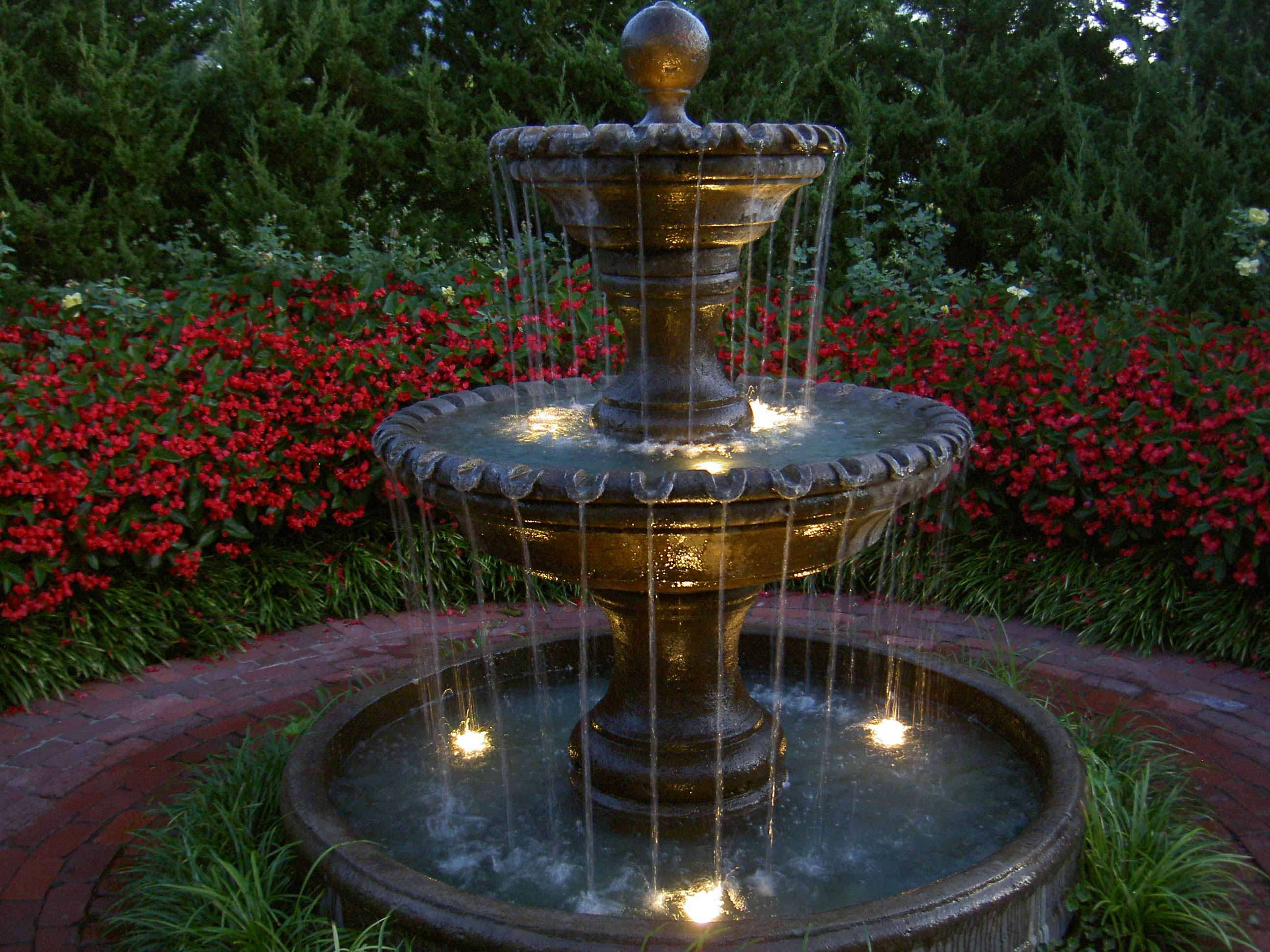 garden fountains ... kansas city garden fountain with lights ... KNVTMQQ