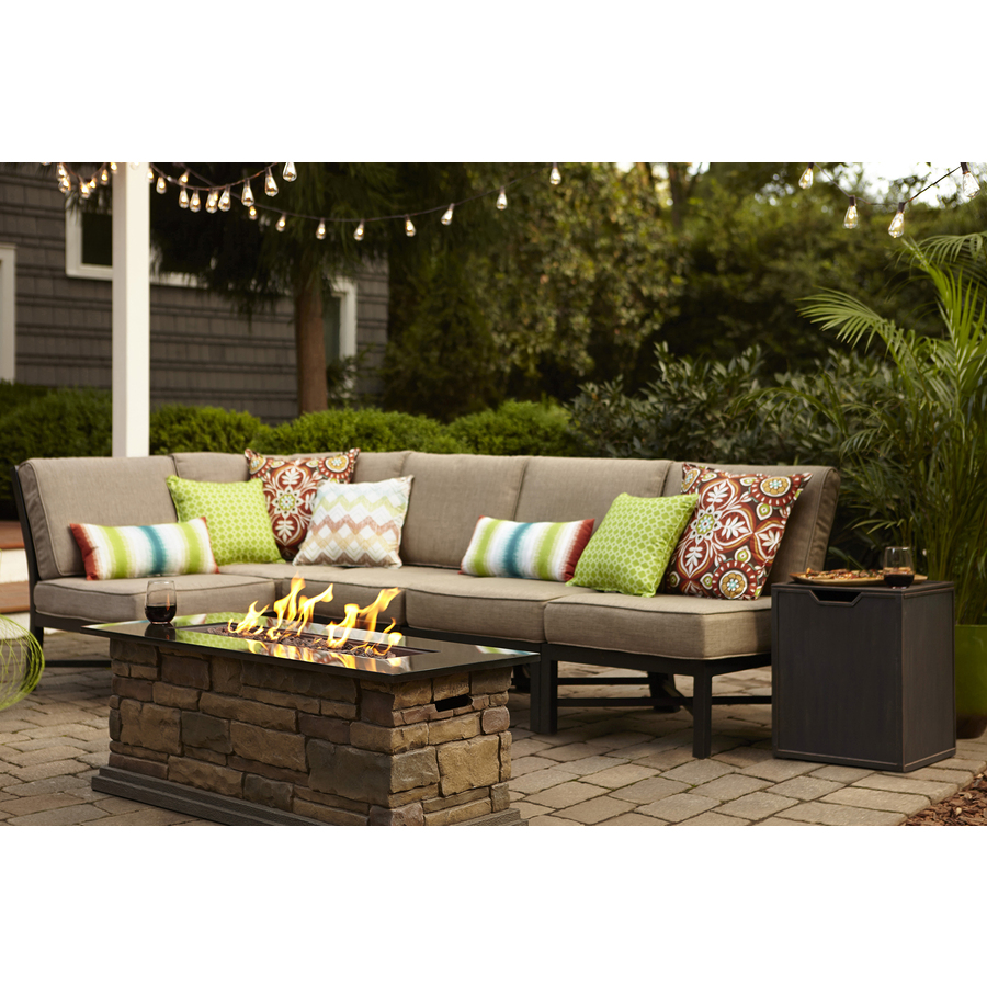 garden furniture sets garden treasures palm city 5-piece black steel patio conversation set with  tan cushions KPFROFV