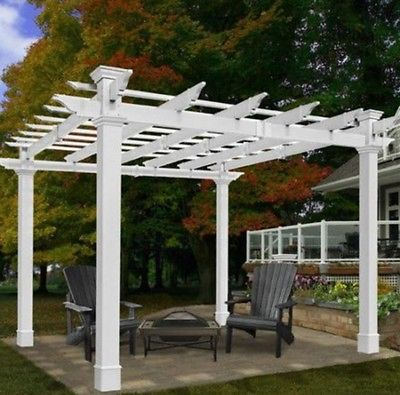 garden vinyl pergola gazebo canopy 9x9 outdoor patio furniture deck backyard GCFFDHL