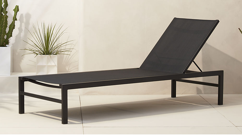 idle black outdoor chaise lounge ... BGHLMLW