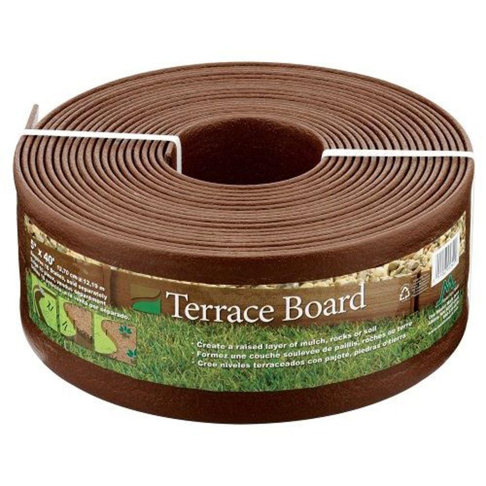 landscape edging master mark terrace board 5 in. x 40 ft. brown landscape lawn edging with QRLASGJ