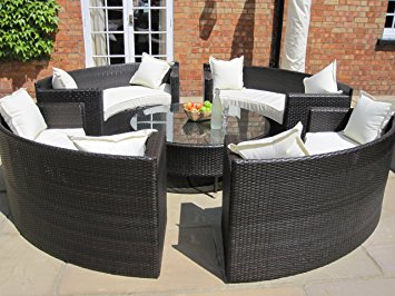 lauren luxury grey rattan garden furniture circular sofa and coffee table  set. GOMEOZQ