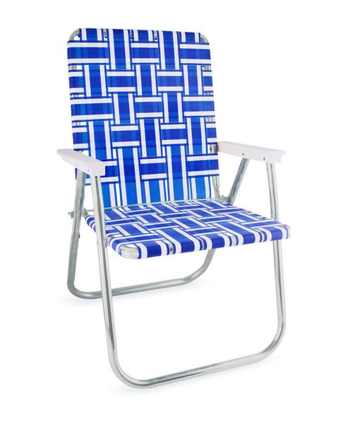 lawn chairs blue and white stripe folding aluminum webbing lawn chair deluxe AHRSDQI