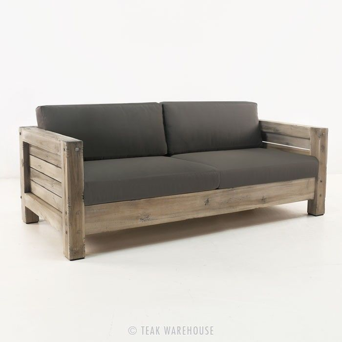 lodge distressed teak outdoor sofa - teak deep seating - deep seating  collections XZBBEEQ