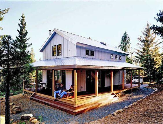 metal building homes cosy metal building cabin w/ wrap around porch (hq plans u0026 pictures) | CTETJMK