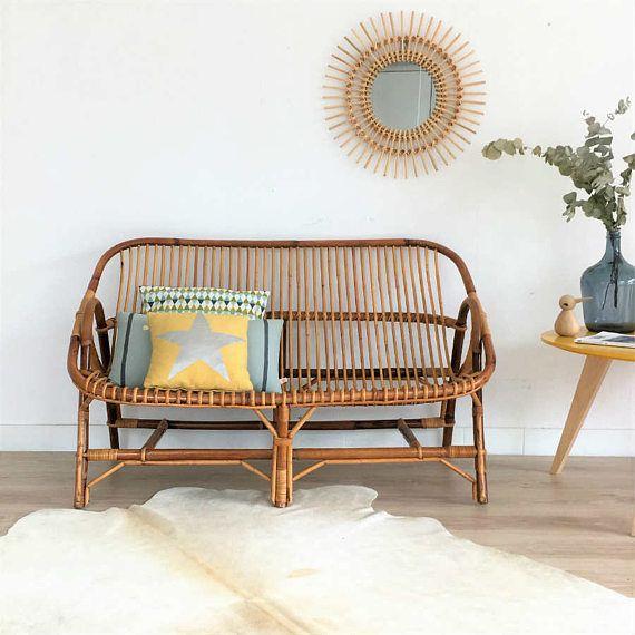 mid century rattan bench seat rattan sofa mid century modern LJQQCBT
