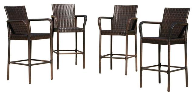 outdoor bar stools stewart outdoor wicker bar stools, set of 4 contemporary-outdoor-bar-stools EHELBYD