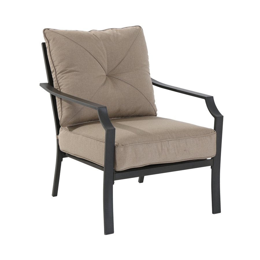 outdoor chairs garden treasures vinehaven 2-count brown steel patio conversation chairs  with tan cushions TVTOZLV
