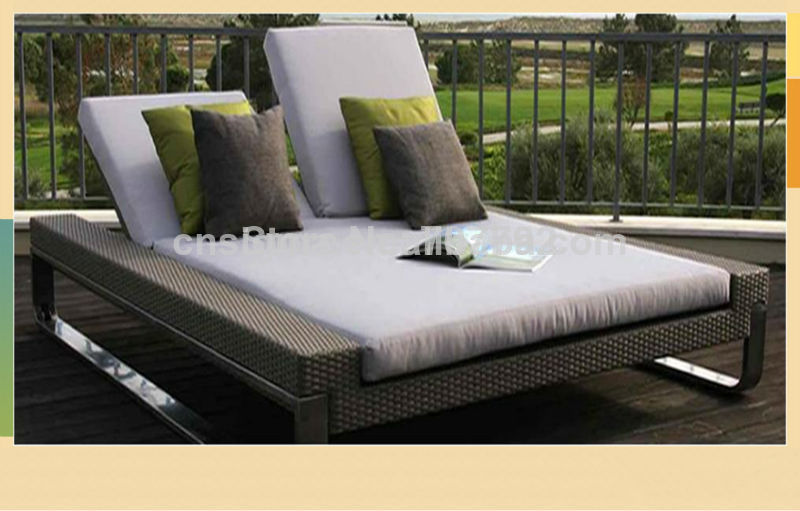 outdoor daybed 2014 hot sale luxury modern outdoor double rattan sunny lounger daybed WTTEBPG
