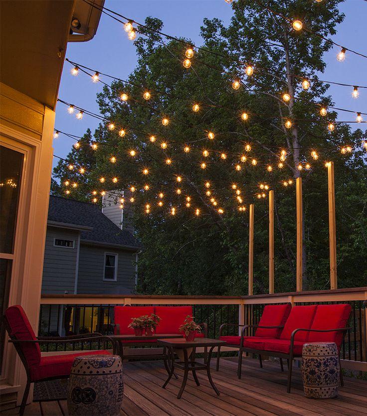 outdoor lighting ideas hang patio lights across a backyard deck, outdoor living area or patio.  guide for DHRZGFO