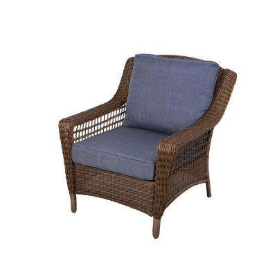 outdoor lounge chairs spring haven brown all-weather wicker patio lounge chair with sky blue  cushions UKULJHB