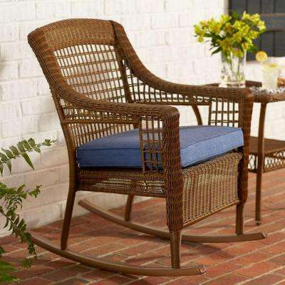 outdoor rocking chairs spring haven brown all-weather wicker patio rocking chair with sky blue  cushion NZJOHRJ