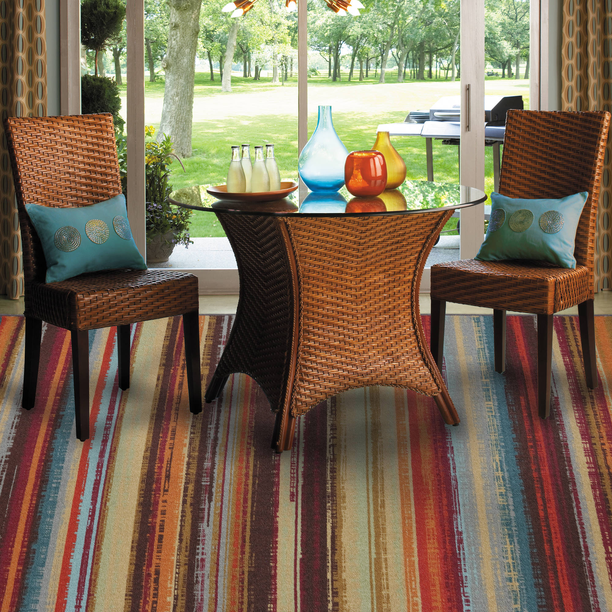 outdoor rugs mohawk home avenue stripe indoor/outdoor nylon rug, multi-colored ULWYCLH