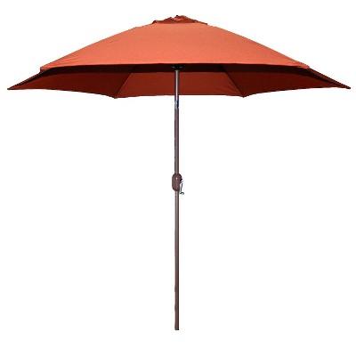 outdoor umbrella 9u0027 round crank patio umbrella - rust FYZNPGW