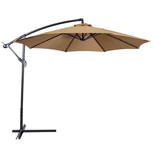 outdoor umbrella best choice products patio umbrella offset 10u2032, tan CTDOLKB