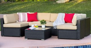 outdoor wicker furniture best choice products 7pc outdoor patio garden wicker furniture rattan sofa  set NTXTFER