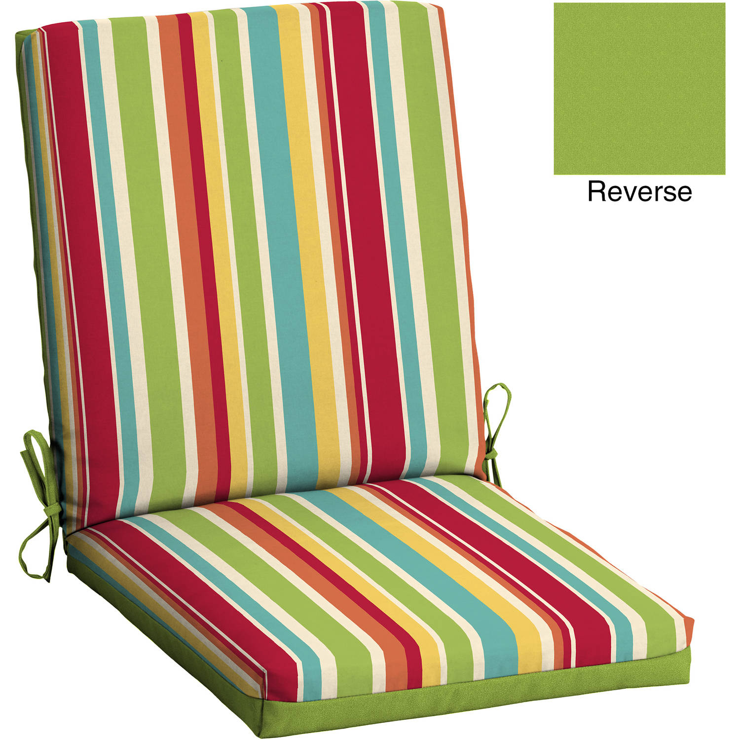 patio chair cushions mainstays outdoor patio reversible dining chair cushion, multi stripe PHUCLEL