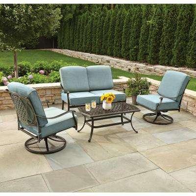 patio conversation sets belcourt 4-piece metal patio conversation set with spa cushions LEBTXJA