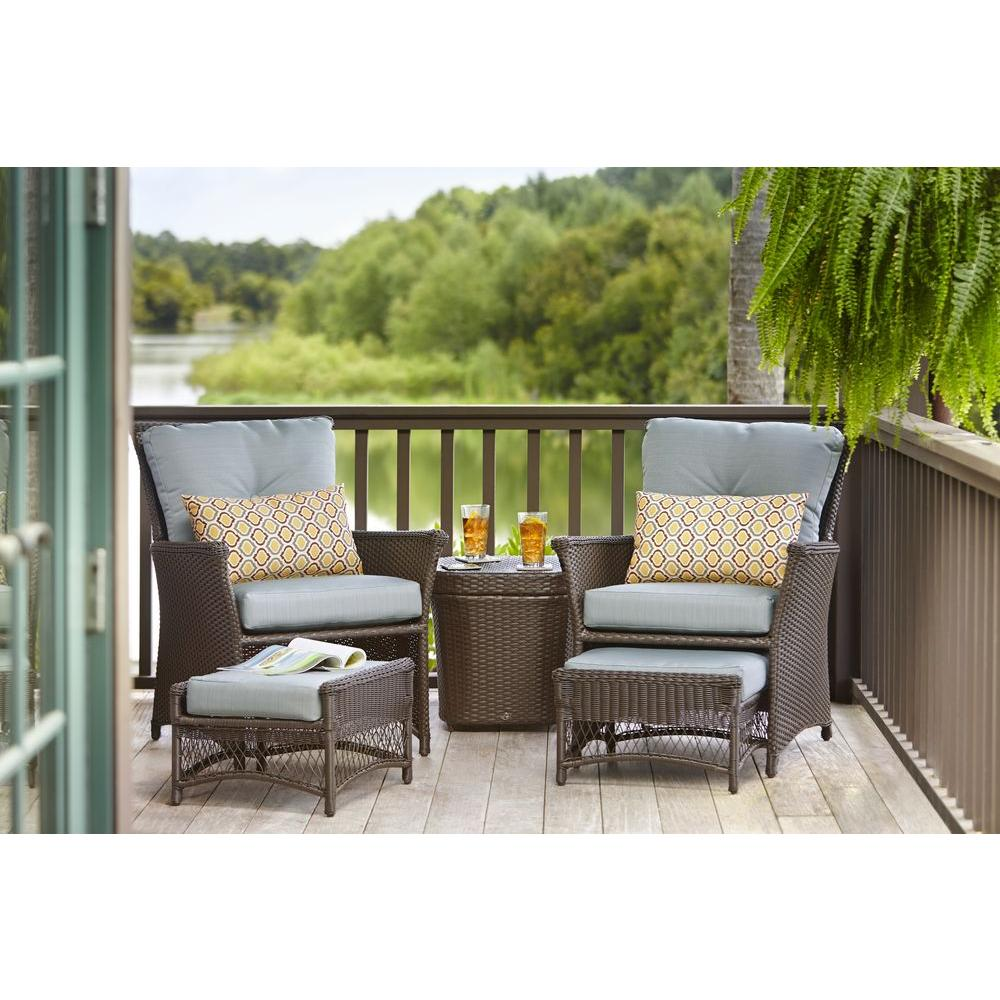 patio conversation sets blue hill 5-piece patio conversation set with blue-green cushions ONCJWKO