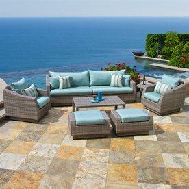 patio conversation sets rst brands cannes 8-piece wicker patio conversation set MUWNCXG