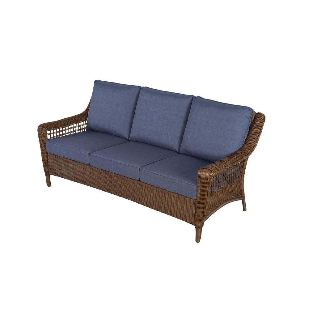 patio couch spring haven brown all-weather wicker patio sofa with sky blue cushions TEPXLVN