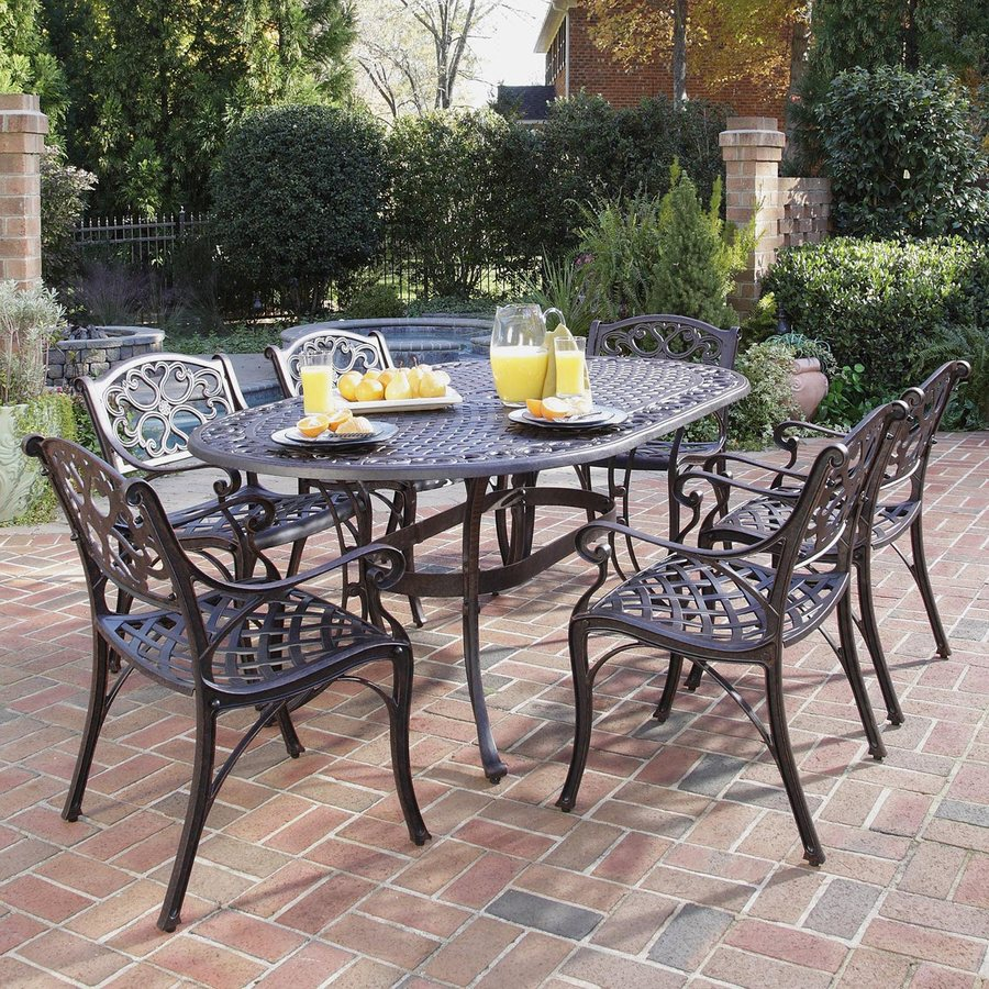patio dining sets home styles biscayne 7-piece aluminum patio dining set VBRYYBY
