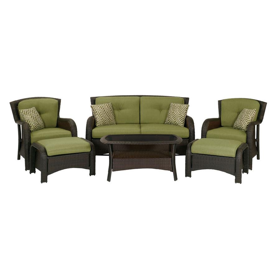 patio furniture sets hanover outdoor furniture strathmere 6-piece wicker patio conversation set ZTIEAVP
