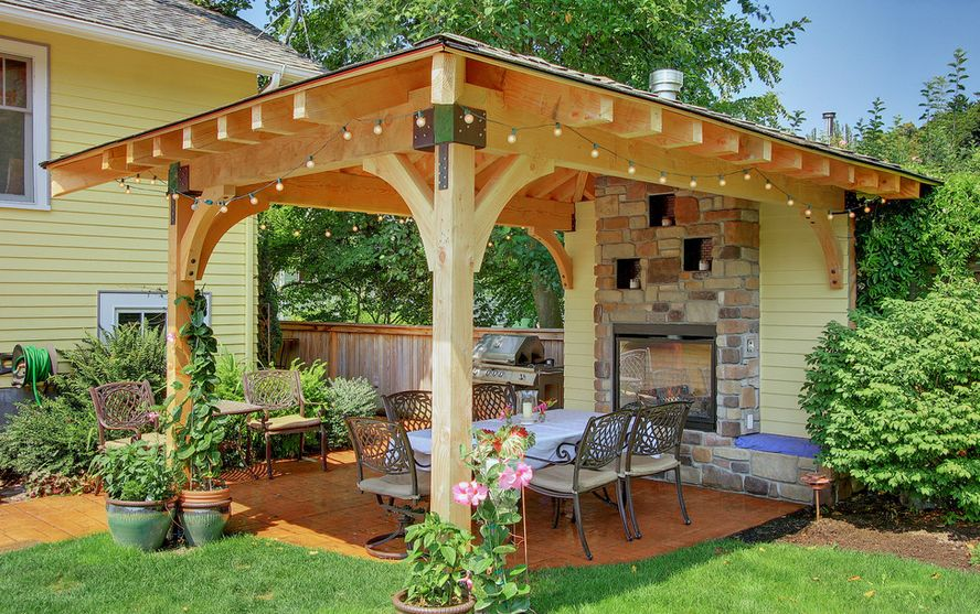 pergola designs pergola with stone fireplace FVWBSMD