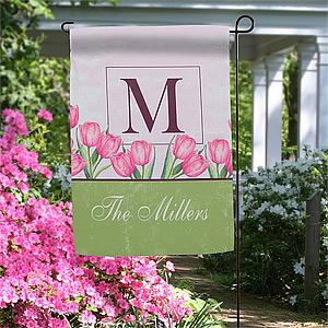 personalized garden flags - spring tulips monogram - 11383 LVMGZFU