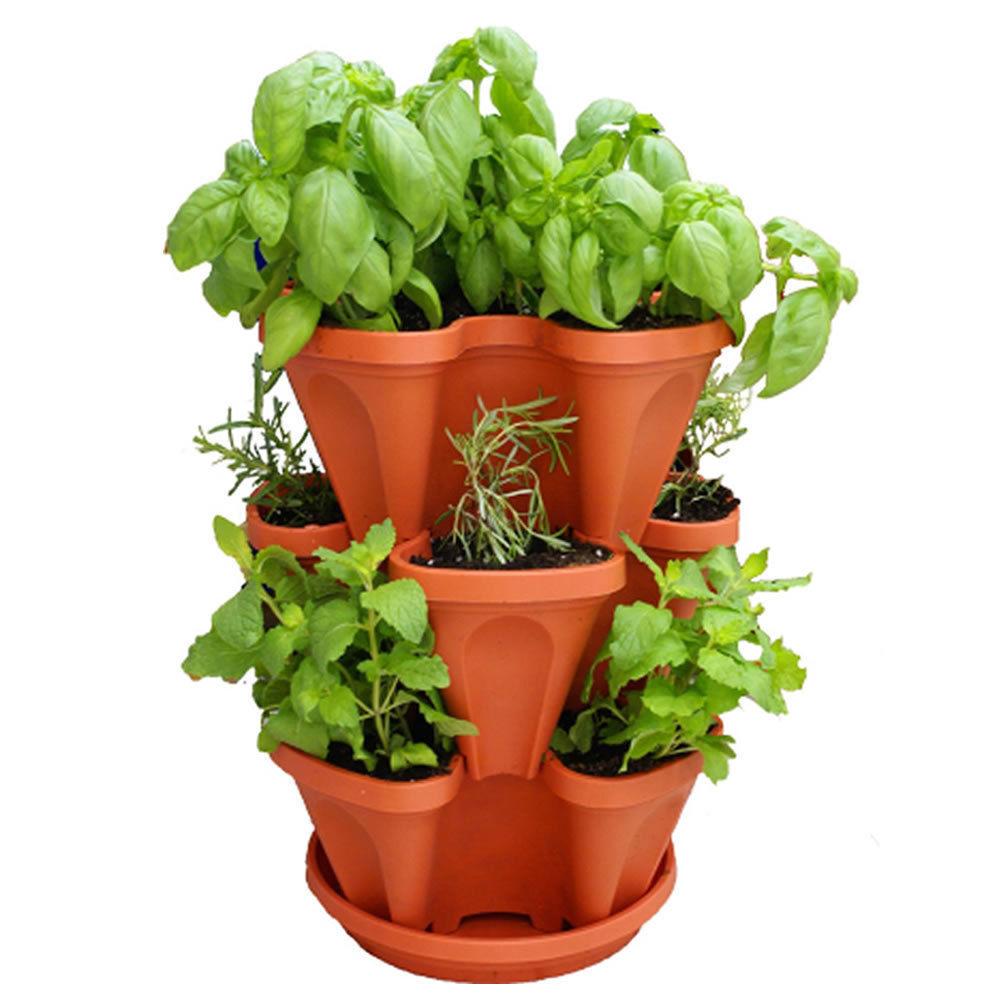 plant pots keybox 3pcs stackable garden planter herb flower pots indoor outdoor round  clover MHTPFKX