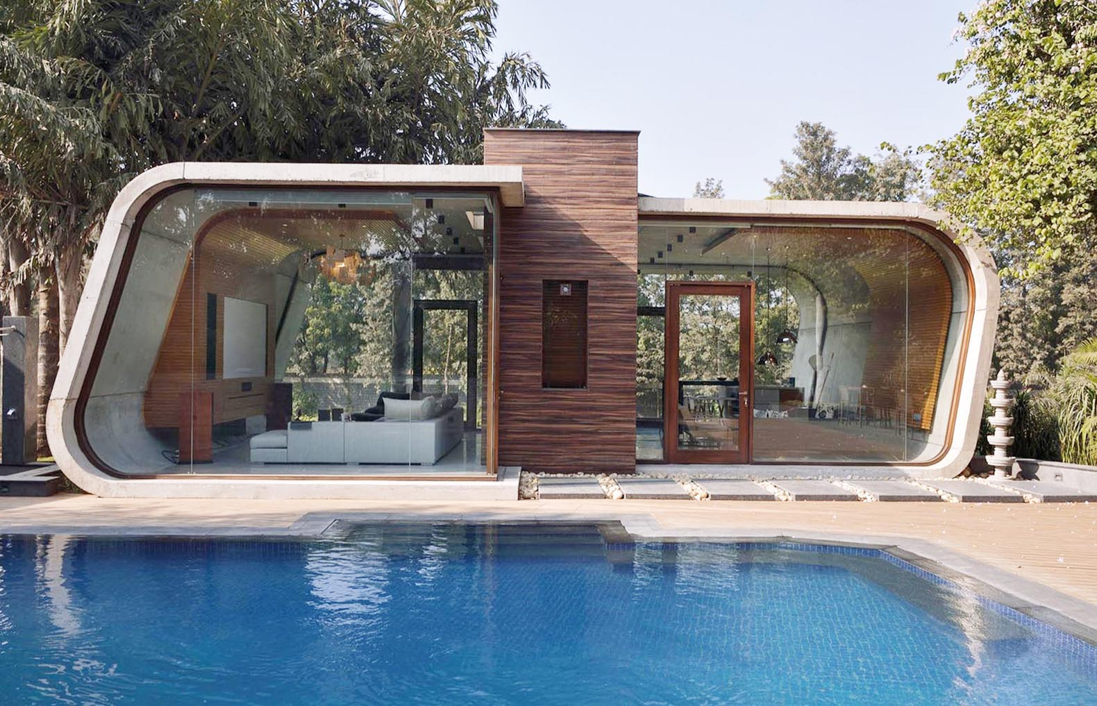 pool house, 42mm architecture, poland, green architecture, swimming pool,  wooden cladding GDVUQWM
