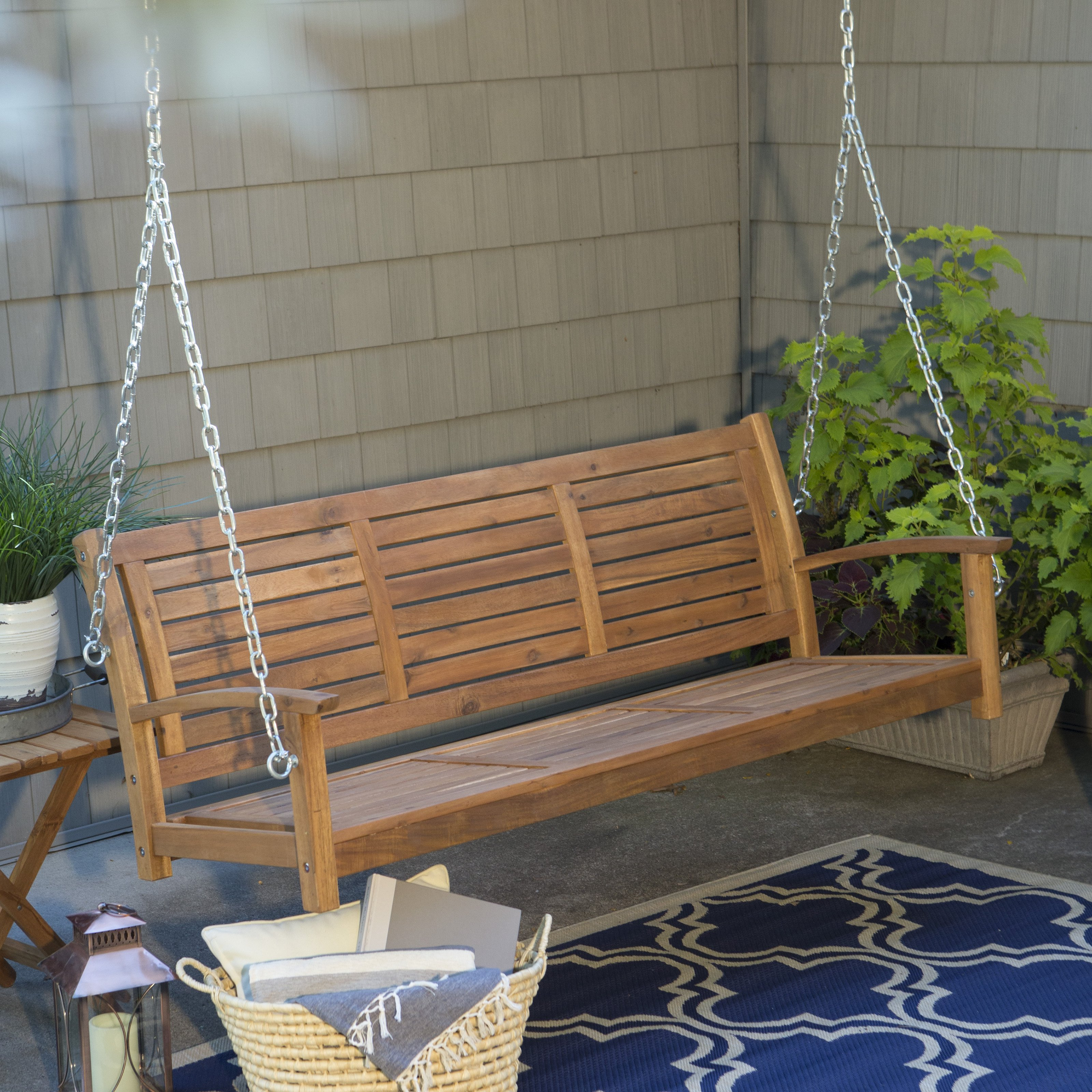 porch swings coral coast pleasant bay all-weather curved back acacia wood porch swing -  painted white - porch BMLPMBA