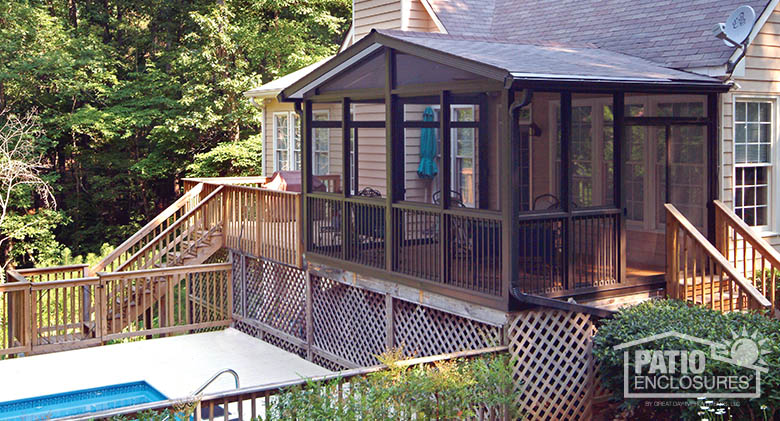 screened in porch bronze aluminum frame screen room with gable roof GNOQFTB