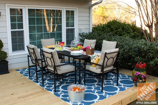 small patio decorating ideas: a beautiful back deck with a patio dining set  and a RZNDBKL