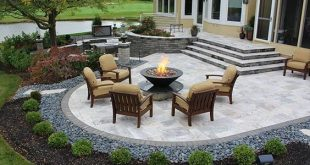 stairs, firepit, paver patio with travertine, back yards, patio ODRPVMU