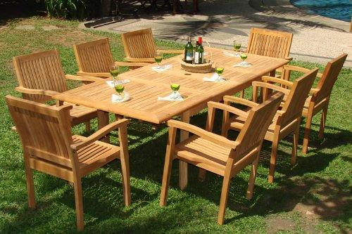 teak outdoor furniture 9-piece-teak-dining-set BHRVRIY