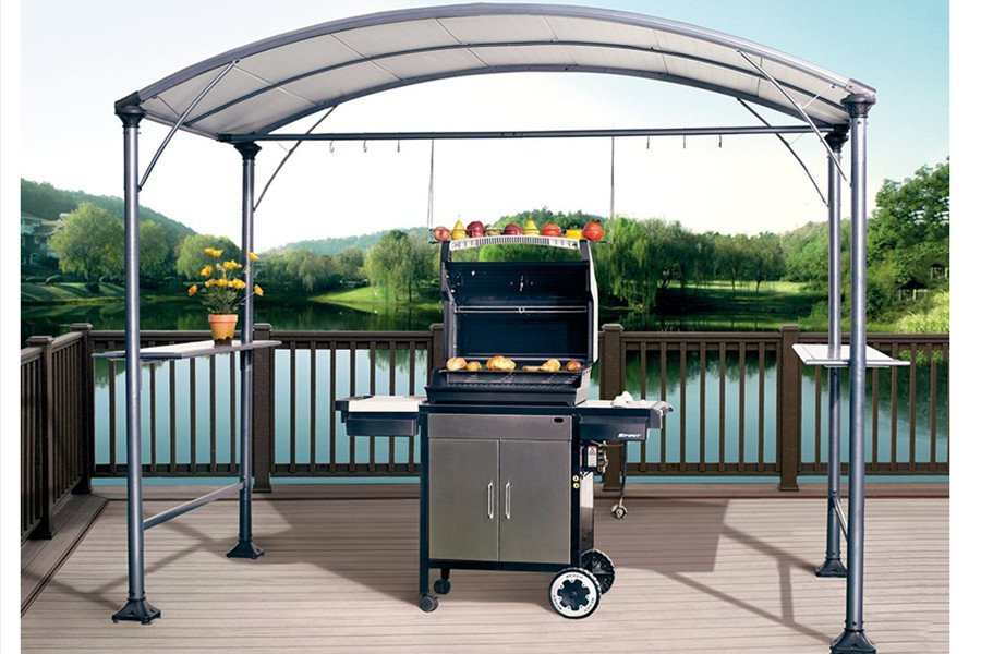 this grill gazebo is made of steel with a steel canopy which is designed to  endure MJISXME