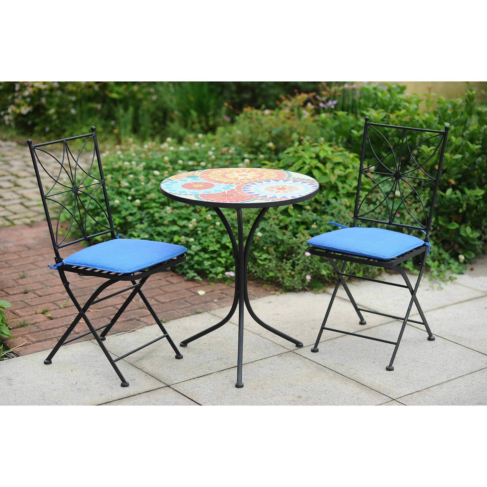 whitman mosaic 3 piece bistro set with cushions OGWUCFZ